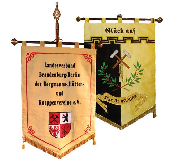 Fahne des Landesverband Brandenburg - Berlin der Bergmanns-, Hütten- und Knappenvereine